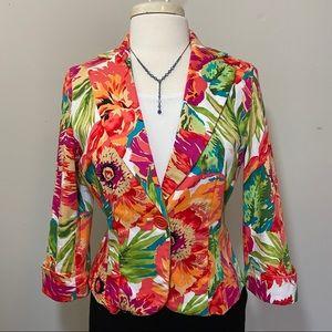 Bandolino Tropical Floral Print blazer Women's 8